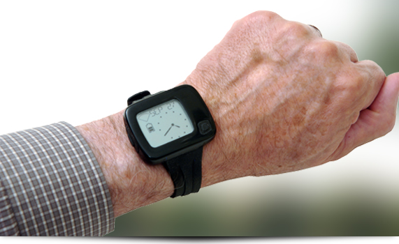 The wristwatch-like device communicates the user's motion and location data