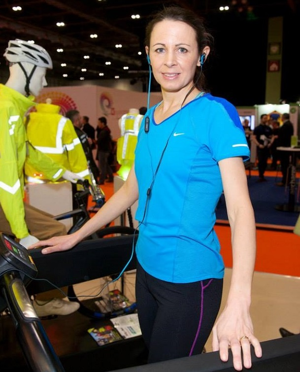 Jo Pavey demonstrated Intel technology