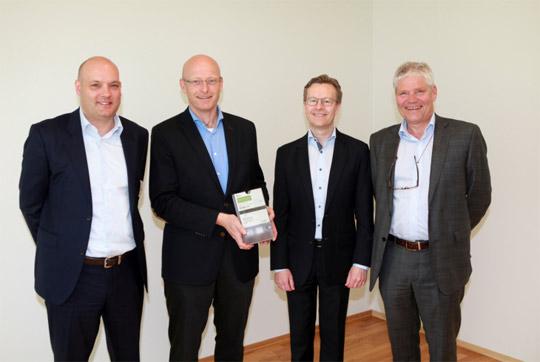 Partners from left Ronny Brudeseth, Eltel Networks (installation), Geir Kulås, Skagerak Nett, Aksel Aanensen, Ericsson and Thor-Erik Næss, Aidon. Picture Aidon.