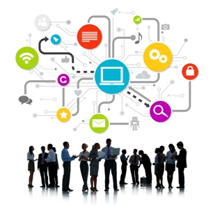 Group Of Business People Working And Global Networking Themed Images Above