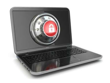 26550326 - internet security. laptop and safe lock. 3d