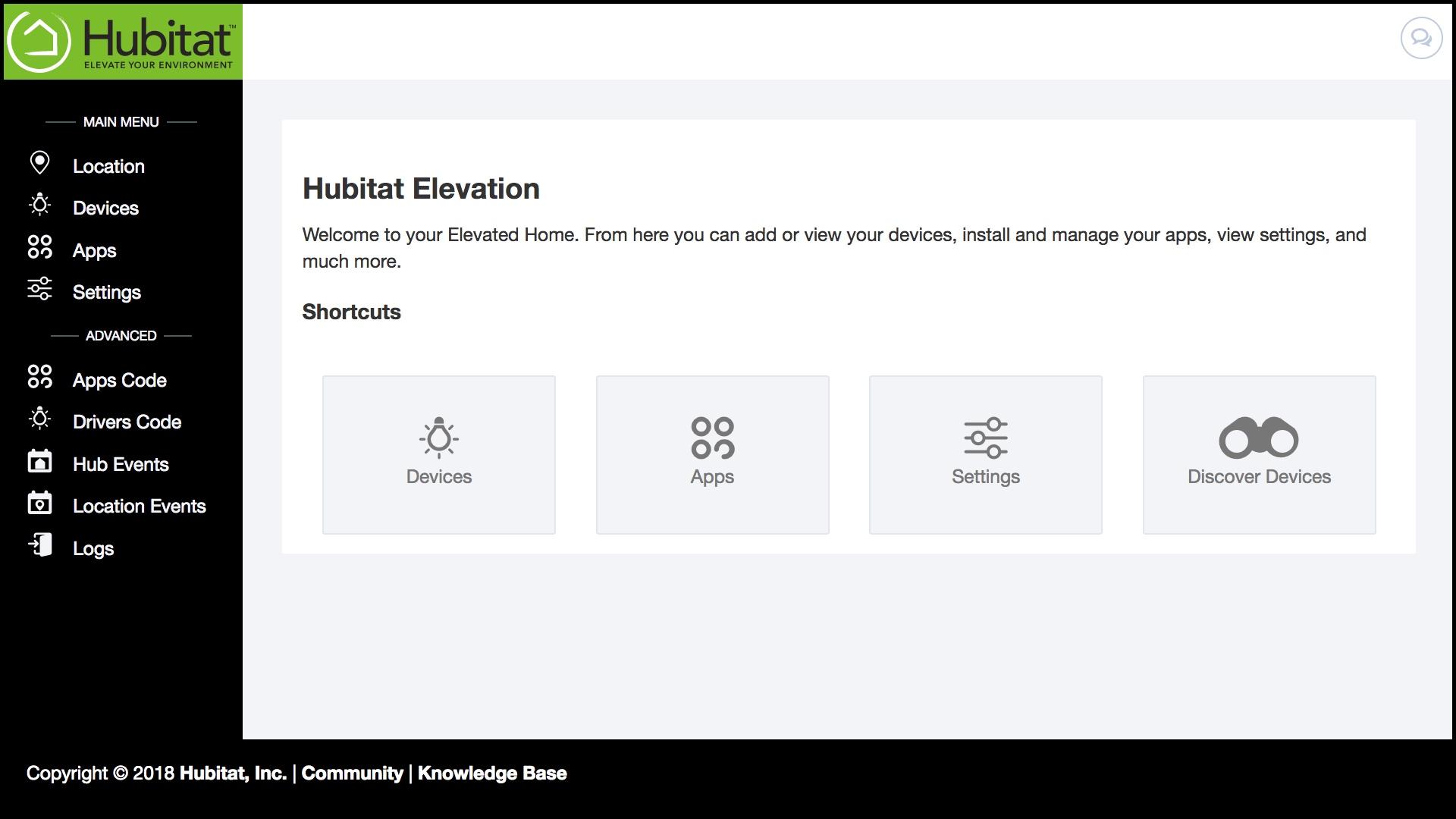 Hubitat IoT platform screen
