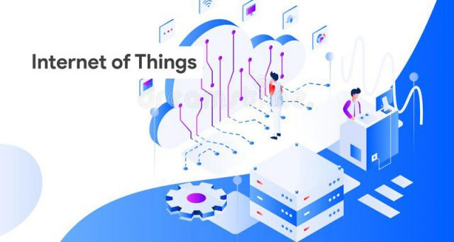 internet of things isometric illustration of connected things